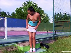 Before Her Tennis Lesson She Sheds Her Panties And Fingers Courtside