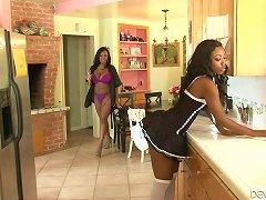 Fine Smooth Skin Ebony Housemaid Looks So Seductive For Lesbian MILF