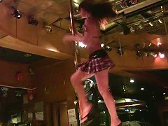 Sweet Dark Haired Sex Doll Presents Hot Pole Dance In The Night Club