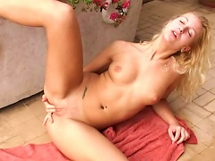 Young Blonde Helena Rubs And Fingers Her Shaved Pussy
