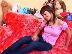 Sexy  Brunette Alena Is  On A Furry Couch