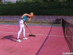 Ginger Head Chrissy Fox Masturbating On A Bench On A Tennis Lawn