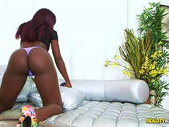 An Ebony Hottie With A Round Ass Works Up A Sweat On Is White Dick