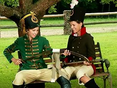 Horny Teens Have A Lesbian Scene On A Park Bench
