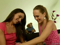 Two Charming Lesbians In Their Bedroom Twat Toying