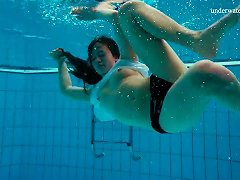 Russian Solo Model Teen With Long Hair Swimming Lovely