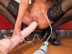 Brunette In Stockings Masturbates With Wand Vibrator And Huge Dildo