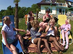 Old Ladies And A Cute Young Chick Have A Big Lesbian Orgy Outdoors