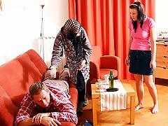 Slutty  Masturbates While Watching Her Husband Fucking A Teen
