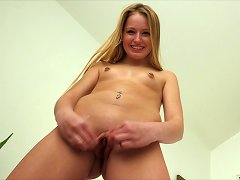 Adorable Teen In Knee Socks Plays With Her Vibrator