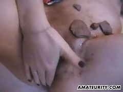 Amateur Girlfriend Toying And Fucking With Chocolate