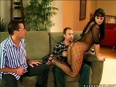 Nasty Brunette Milf Gets Dp After Rimjob In Mmf Threesome