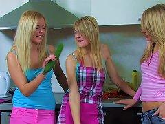 Zucchini Fucking Lesbian Chicks Have A Threesome
