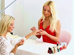 Fabulous Blonde Sassy Babes Playing Lesbian Games With Sex Toys