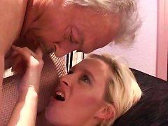 Young Blonde Receives Senior Cock