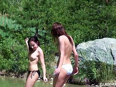 Swimming In The Lake And Playing With Their Twats On A Blanket