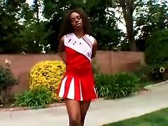 Ebony Cheerleader Gets Her Teen  Drilled Hard