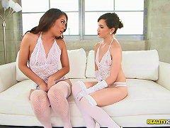 Elegant White Lace Lingerie On Gorgeous Lesbian Babes