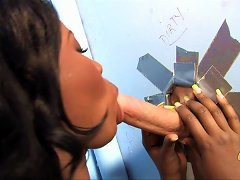 Ebony-skinned Chick With Big Tits Enjoying An Interracial Fuck In A Toilet Cubicle