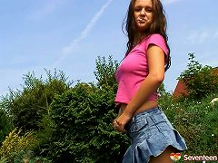 Lonely And Kinky Teen Masturbates Warmly In This Incredible Solo Outdoors Scene