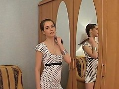 Slim Russian Brunette Gets Fucked Thanks To Her Little Dress