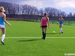 Soccer Babes Stripping On The Field To Show Off Their Tits
