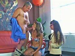 Slutty Hotties Kara And Alexandra Silk Suck Older Man's Cock
