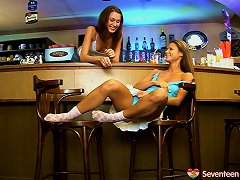 Sexy Waitress Stays After Hours To Play With Her Lesbian Friend