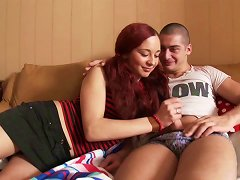 Redhead Teen Eats A Hard Prick After A Doggy Style Pounding
