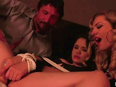 Perverted Bailey Blue And Her Husband Fuck Tied Up Young Brunette
