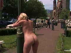 Skinny Blonde In Miniskirt Gets Pounded In The Street