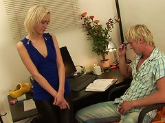 Sexy Blonde In Leather Pants Sucks His Dick And Gets Fucked