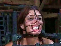 Bounded Bitch With Extender And Clips On Her Face Gets Her Pussy Toyed