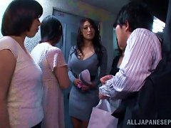 Having Sex With Four Hot Japanese Chicks In Reverse Gangbang