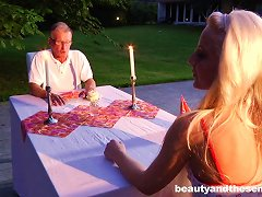 Romantic Dinner Between A Teen And An Old Man She Lusts After