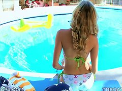 Blonde Nicole Ray Gives A Sexy Blowjob Poolside