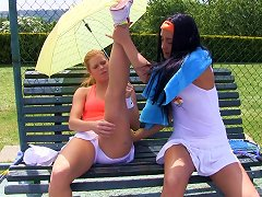 Four Fetching Lesbian Ladies Going Wild On The Tennis Court