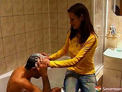 Beautiful Brunette Teen In Jeans Gets Her Asshole Stuffed Deep On The Couch