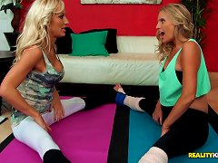 Gorgeous Blonde Milfs Get Really Nasty While Doing Yoga