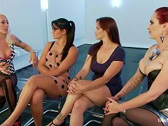 Four Lesbians Get Wild, They Start A Catfight Over A Dildo!