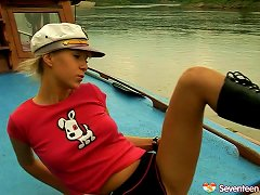 Check Out This Sassy Teen In Leather Masturbating Nicely On The Boat's Hood