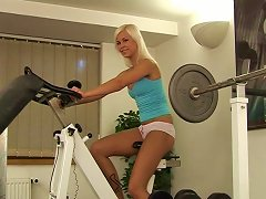 In Her Building's Gym She Works Out Then Gets Herself Off