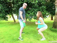 Bald Head Stud Undresses His Wife Outdoors For A Thorough Smashing In A Close Up Shoot