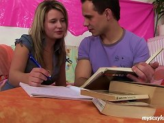 Slutty College Tutor Motivates A Guy With Blowjobs And Riding His Dick