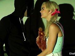 Innocent Elsa Fucks A Masked Stranger In An Alleyway